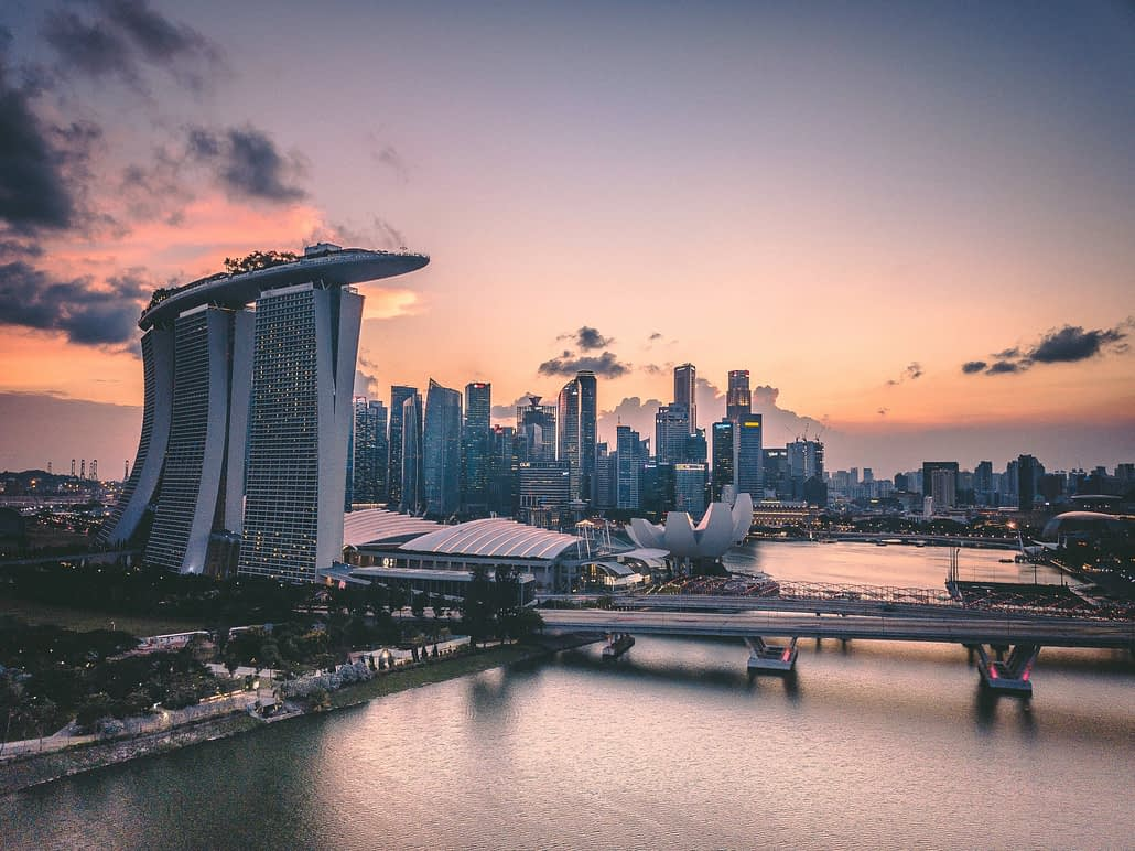 A panoramic shot of Singapore's skyline.