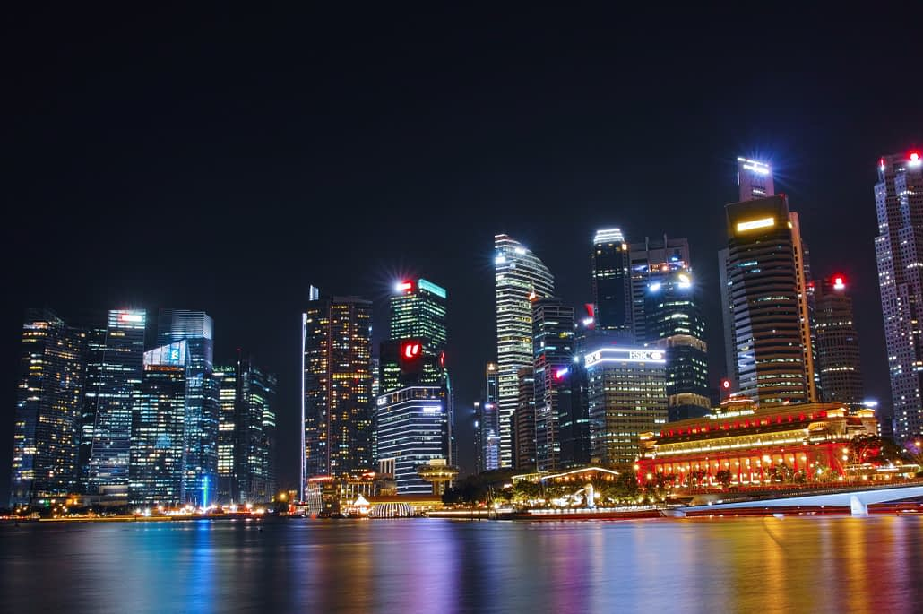 The bright lights of Singapore at night.
