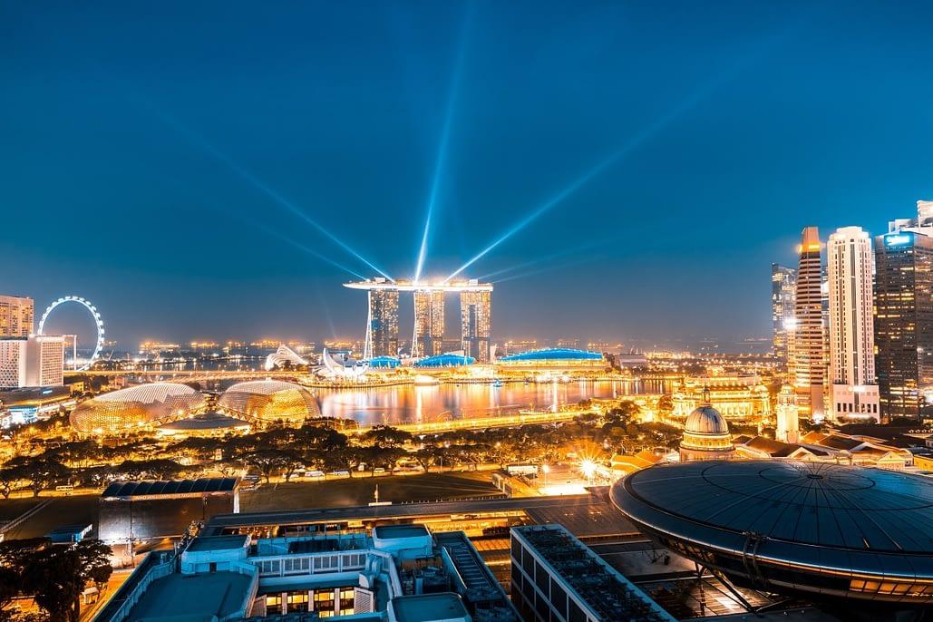 Singapore's spectacular skyline by night.